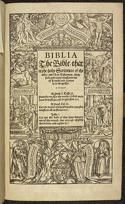 Book Title Photograph - Title Page Of 'coverdale's Bible' by British Library