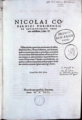 Title Page Of De Revolutionibus Art Print