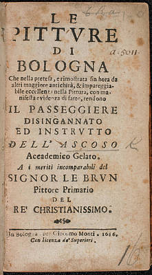 Bologna Photograph - Title Page Of 'le Pitture Di Bologna' by British Library