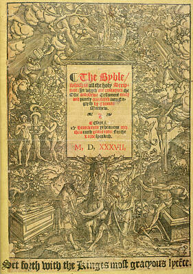 Title Page Of Matthew's Bible (1537) Art Print by British Library