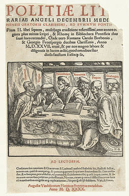Letterpress Drawing - Title Print Six Scholars Sitting Around A Table And Text by Hans Burgkmair (the Elder) And Heinrich Steiner