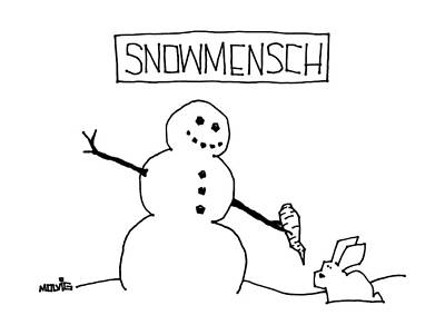 Winter Drawing - Title: Snowmensch Snowman Hands His Carrot Nose by Ariel Molvig