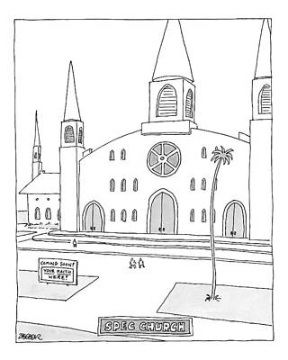 Title: Spec Church. A Billboard Outside A Church Art Print by Jack Ziegler