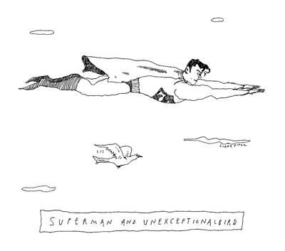 Title: Superman And Unexceptionalbird. Superman Art Print by Liana Finck