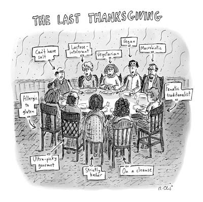Foods Drawing - Title: The Last Thanksgiving. Family Seated by Roz Chast