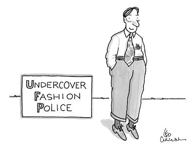Waste Drawing - Title: Undercover Fashion Police. A Nerdy Looking by Leo Cullum