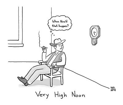 Title: Very High Noon. A Cowboy Looking Art Print