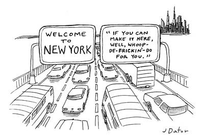 Highway Drawing - Title Welcome To New York. Two Highway Signs by Joe Dator