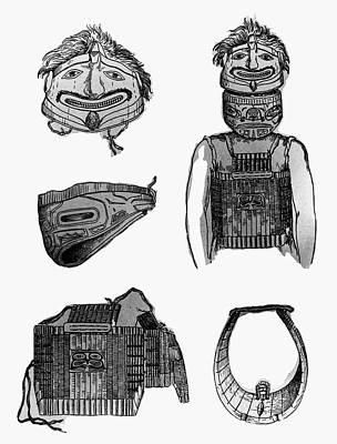 Indian Tribal Art Drawing - Tlingit Artifacts, C1804 by Granger
