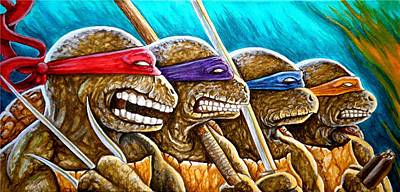 Teenage Mutant Ninja Turtles Painting - Tmnt Showdown 1 by Al  Molina