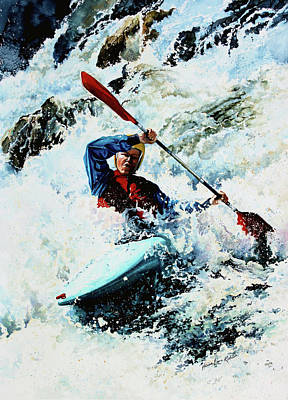 Canadian Sports Artist Painting - To Conquer White Water by Hanne Lore Koehler