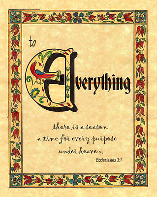 Fraktur Painting - To Everything There Is A Season by Joan Shaver