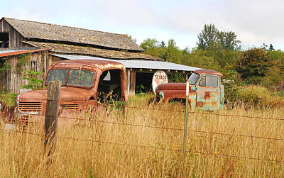 Photograph - To Everything There Is A Season. Rusty Old Trucks And A Barn by Connie Fox