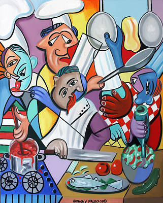 Cubists Digital Art - To Many Cooks In The Kitchen by Anthony Falbo