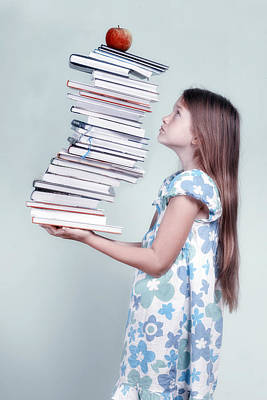 Child Photograph - To Many Schoolbooks by Joana Kruse
