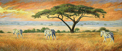 African Painting - To Other Pastures by Lucie Bilodeau