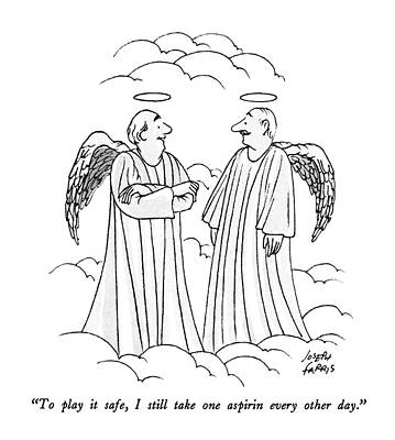 Angel Drawing - To Play It Safe by Joseph Farris