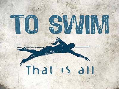 Swimming Digital Art - To Swim That Is All by Flo Karp