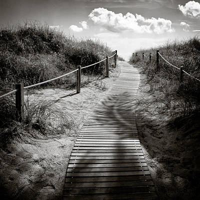 Sepia Photograph - To The Beach by Dave Bowman