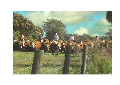 Cattle Roundup Painting - To The Corral by Victor Milt
