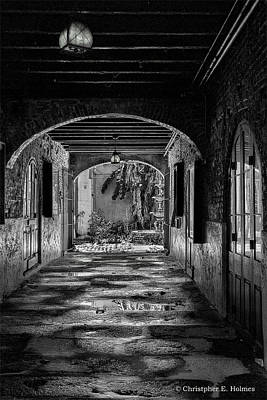 Photograph - To The Courtyard - Bw by Christopher Holmes