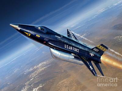 To The Edge Of Space - The X-15 Art Print by Stu Shepherd