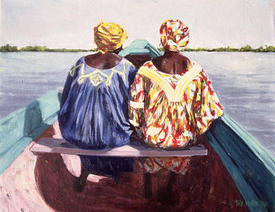 African Woman Photograph - To The Island, 1998 Oil On Canvas by Tilly Willis