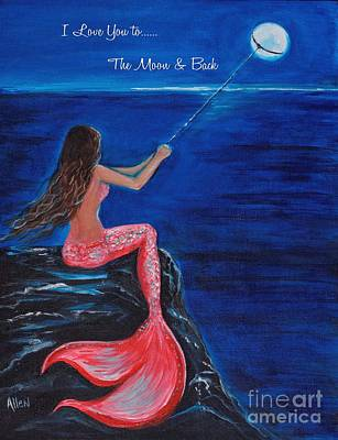 Painting - To The Moon And Back W/quote by Leslie Allen