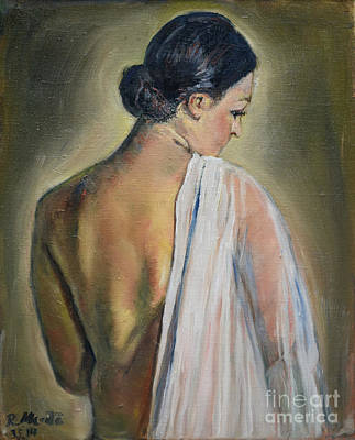 Woman In Shower Painting - To The Shower by Raija Merila