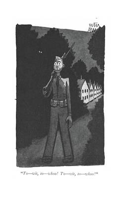 Scary Drawing - To - Wit, To - Whoo! To - Wit, To - Whoo! by Peter Arno