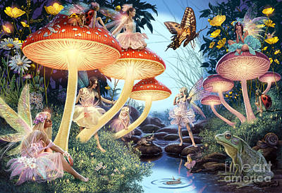 Toadstools Digital Art - Toadstool Brook by Steve Read