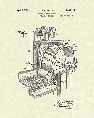 Machinery Drawing - Tobacco Machine 1932 Patent Art by Prior Art Design