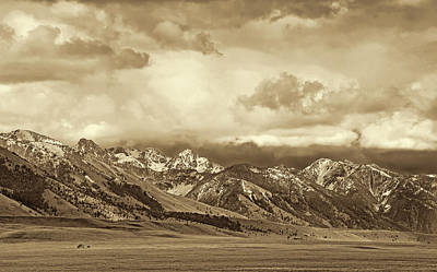 Tobacco Root Mountain Range Montana Sepia Art Print by Jennie Marie Schell