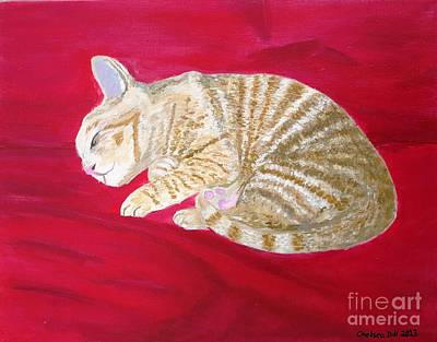 Catnap Painting - Tobey's Catnap by CE Dill