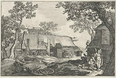Barnyard Drawing - Tobias And The Angel, Claes Jansz. Visscher II by Claes Jansz. Visscher (ii) And Abraham Bloemaert And Bo?tius Adamsz. Bolswert