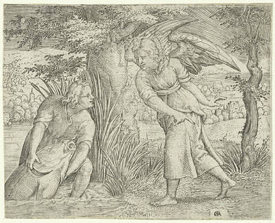 Tobias And The Fish, Print Maker Cornelis Massijs Art Print by Cornelis Massijs