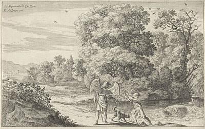 Tobias Scares The Fish, Herman Van Swanevelt Art Print by Herman Van Swanevelt And Charles Audran
