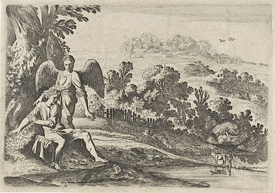 Tobias Scares The Fish, Print Maker Moyses Van Wtenbrouck Print by Moyses Van Wtenbrouck And Hendrick Hondius I