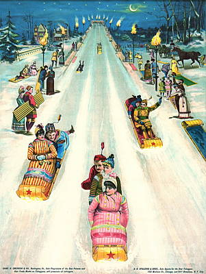 Toboggan Ad 1887 Art Print by Padre Art