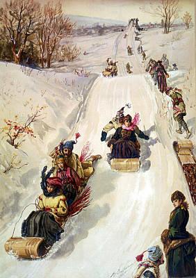 Snow Scene Landscape Digital Art - Tobogganing 1886 by HY Sandham