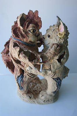 Pierced Ears Sculpture - Today's  21st Century Cats by Susan Brown    Slizys art signature name
