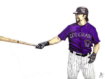 Todd Helton Drawing - Todd Helton by Joshua Sooter