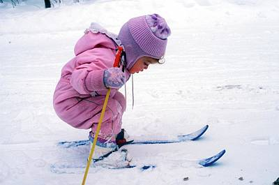 Country Snow Photograph - Toddler Skiing by Jim West