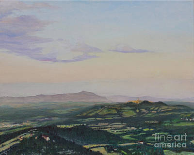 Wine Country Card Painting - Todi by Robin Kirkpatrick