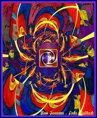 Print featuring the digital art Together As One - A Healing In Blue by Ray Tapajna