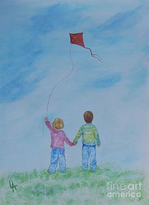 Painting - Together Flying by Leslie Allen