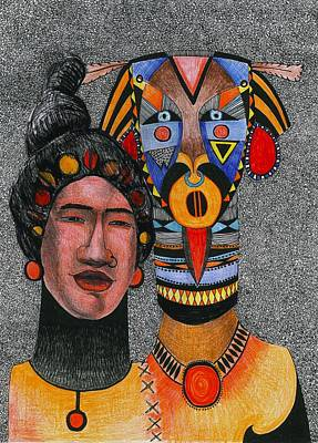 Together-forever, 2012 Pen, Ink And Colour Pencils On Paper Art Print