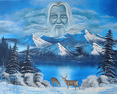 Old Man With Beard Painting - Together In Colorado by Surreal World