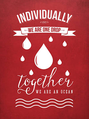 Unity Digital Art - Together We Are An Ocean - Red by Aged Pixel