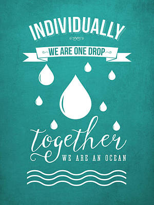 Unity Digital Art - Together We Are An Ocean - Turquoise by Aged Pixel